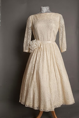 1950s lace wedding dresses, c Heavenly Vintage Brides, boat neck style