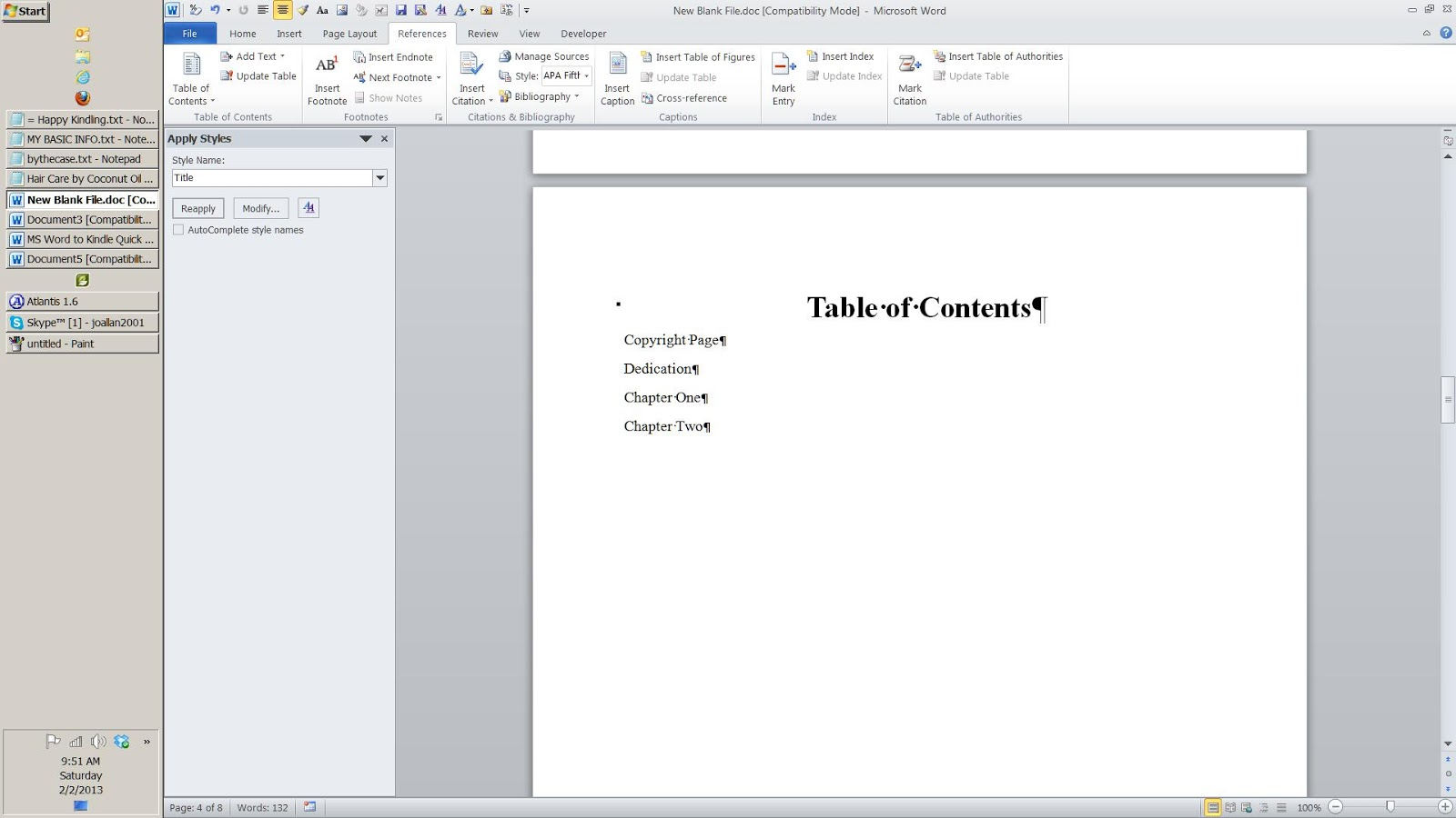 how to make a table of contents in kindle create