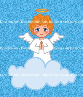 Ilustração de anjinho para convite e lembrancinhas de batizado