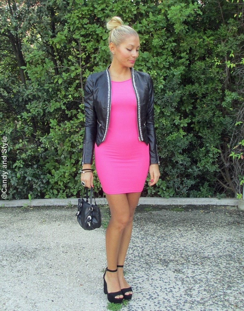 LeatherJacket, BodyconDress, AnkleStrapSandals, MiniBag, High Knot - Lilli Candy and Style Fashion Blog