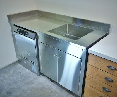 Adventures in metal custom metal oregon stainless steel for Stainless steel countertop with integral sink
