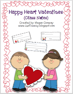 Happy Hearts Valentines (Class Notes), www.justteachy.blogspot.com