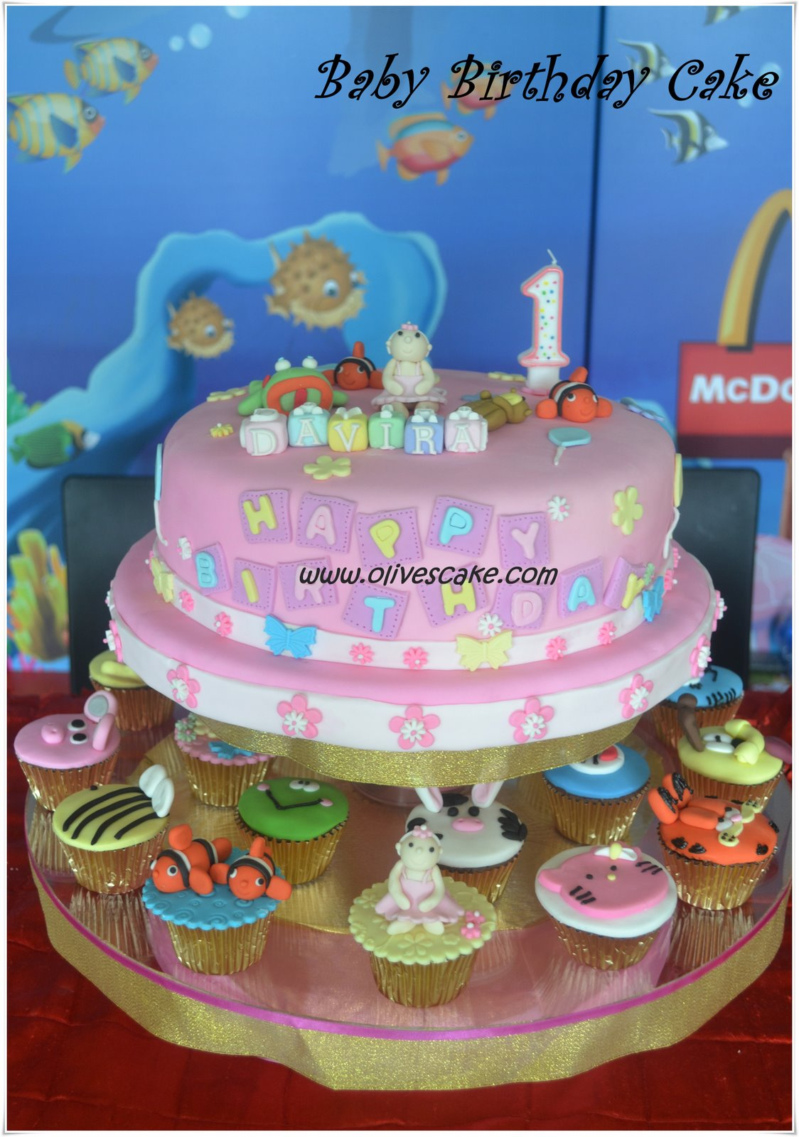 Olives Cake Baby Birthday Cake Cupcake