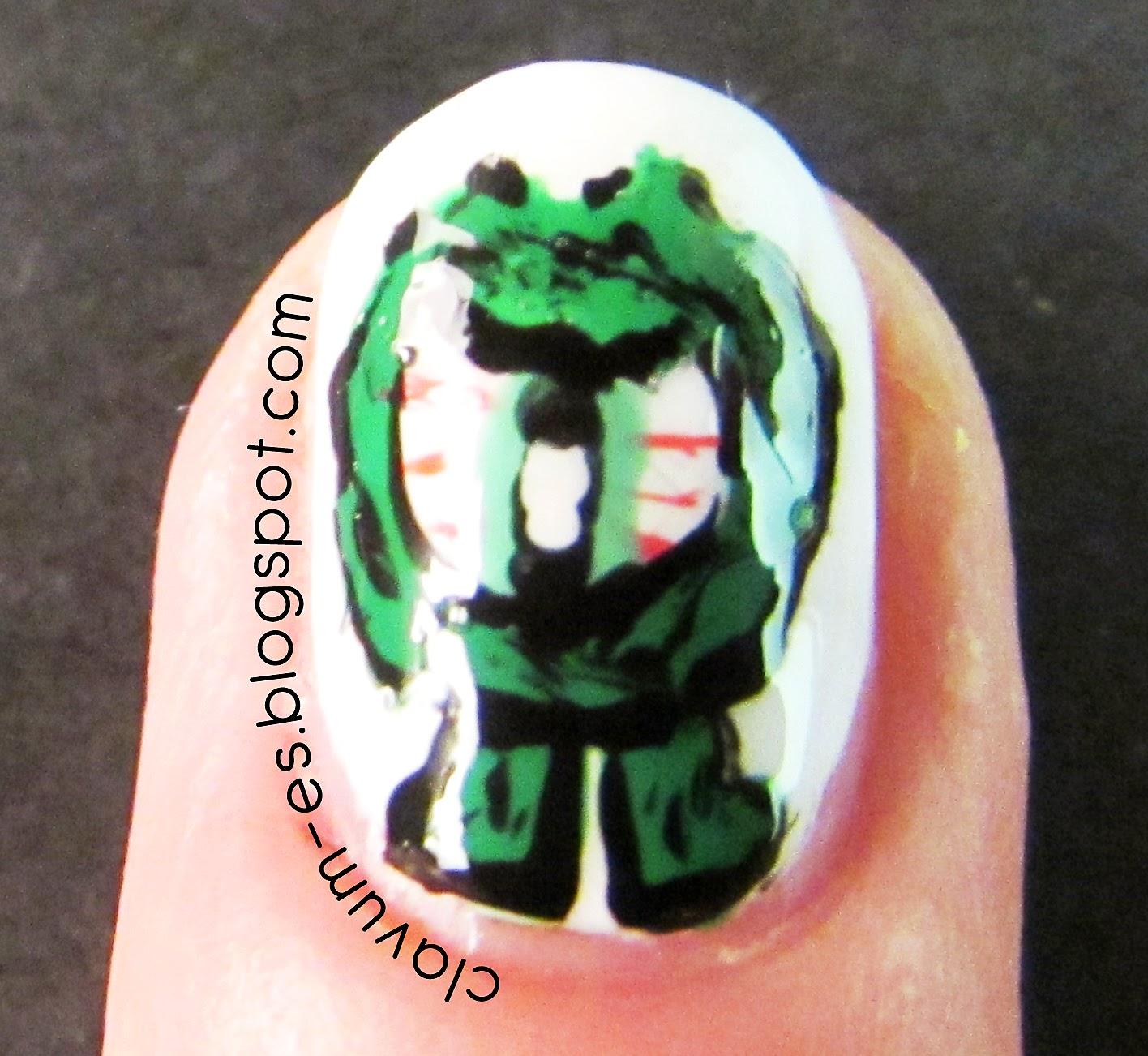 Green-Eyed Monster Nail Art