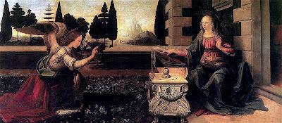 Pintura A Anunciação, por Leonardo da Vinci