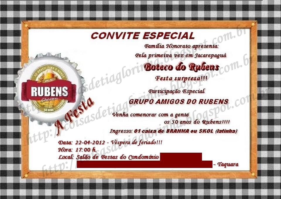 festa de boteco festa surpresa boteco do rubens 50 anos o convite