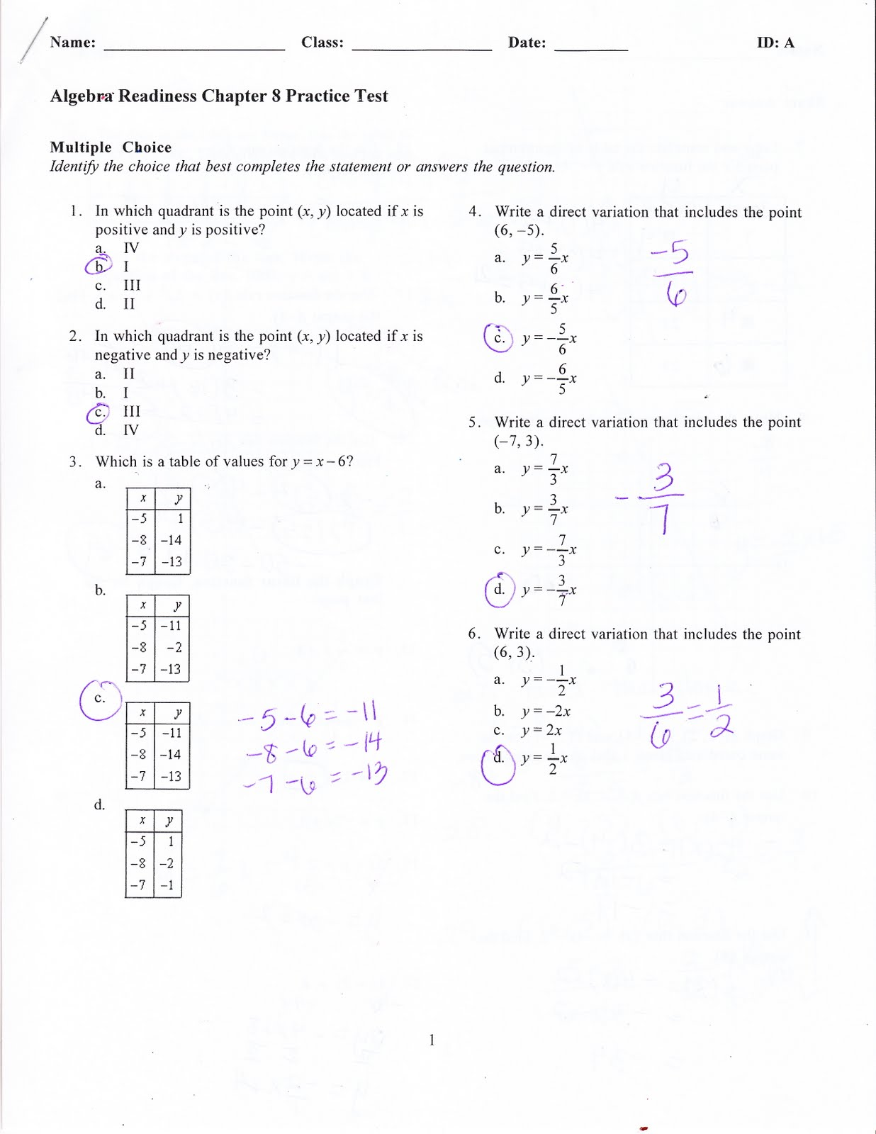 chapter 8 test Copying prohibited llevada's algebra 1 146 chapter 8: radicals chapter 8 test simplify (81) find the value of the variable that would yield a real number for the expression.