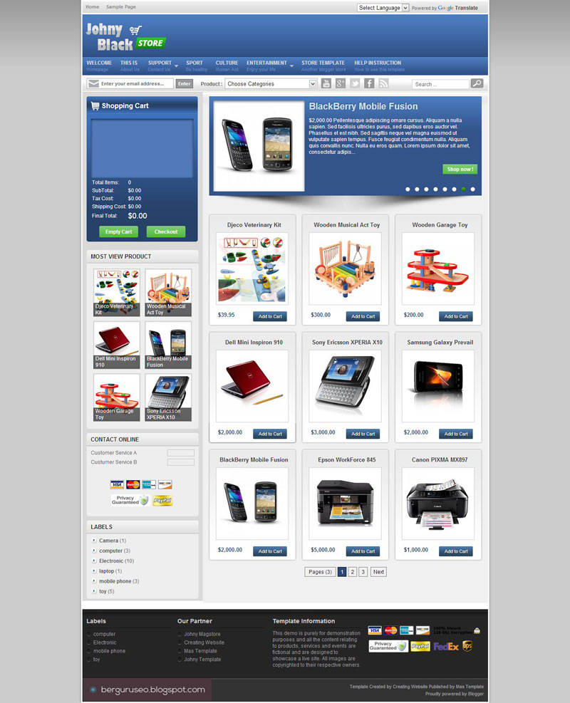 Template Blog Toko Online Johny Blackstore