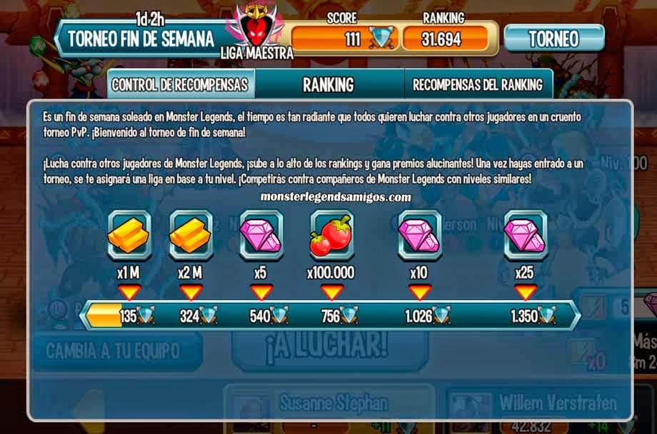 imagen del control de recompensas del torneo de fin de semana
