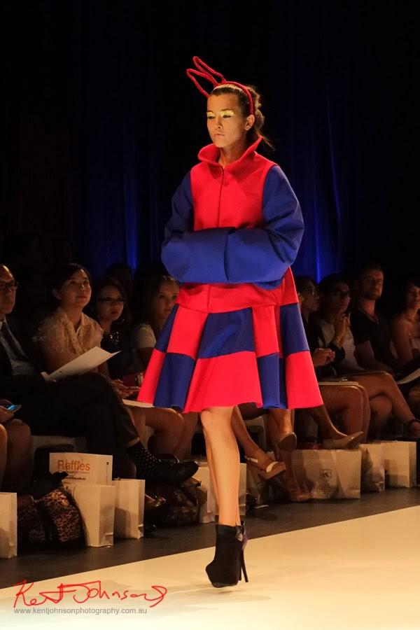 Matiny Ng, Red and blue jumbo checks; New Byzantium : Raffles Graduate Fashion Parade 2013 - Photography by Kent Johnson.
