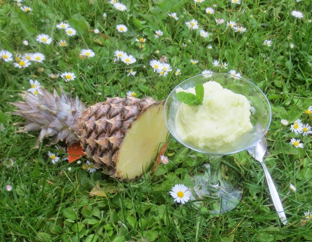 Ananas-Minz-Eis mit Rum und Joghurt