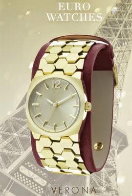 relógio Euro Watches feminino pulseira couro vermelho e metal dourado