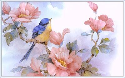 Pajaro con flores en primavera