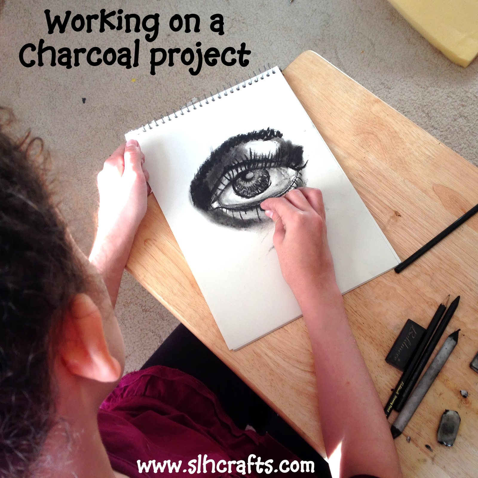 charcoal eye drawing