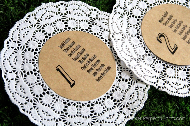 wedding seating charts made of paper doily and Kraft paper