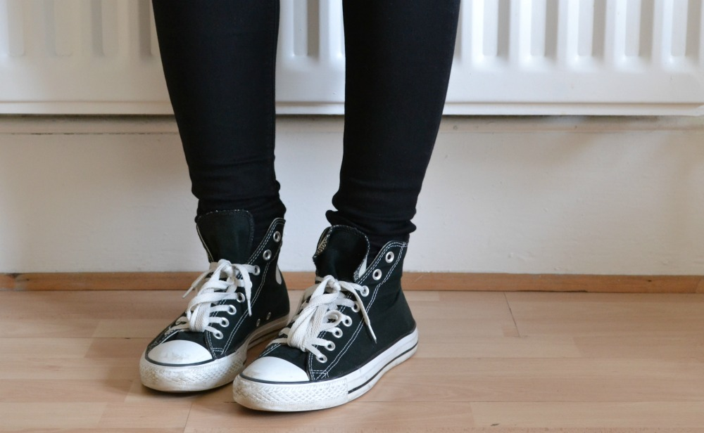 black hi-top converse