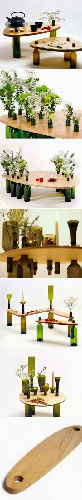 mesa de sobra de madeira e garrafas