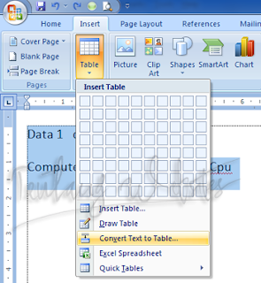 convert text menjadi tabel di Ms word