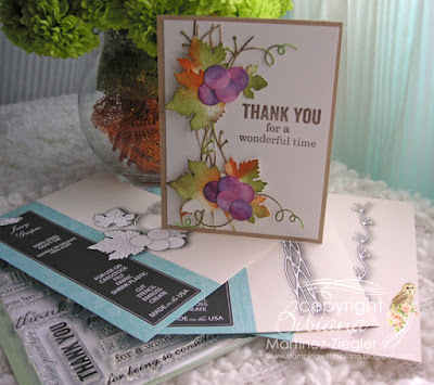 thank you card with juicy grapes die supplies