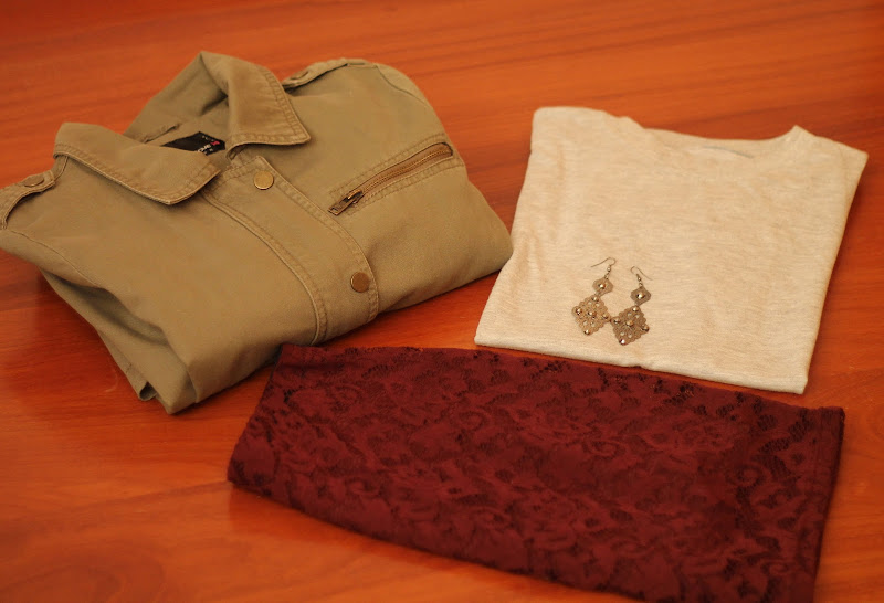 fashion set with olive green parka, burgundy skirt and grey t-shirt