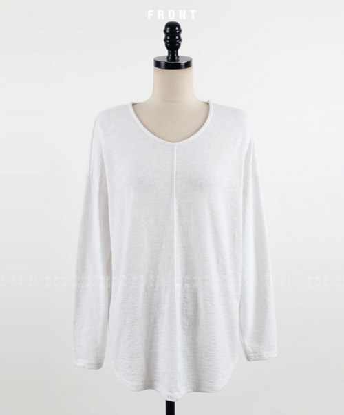Scoop Neck T-Shirt with Stitched Center