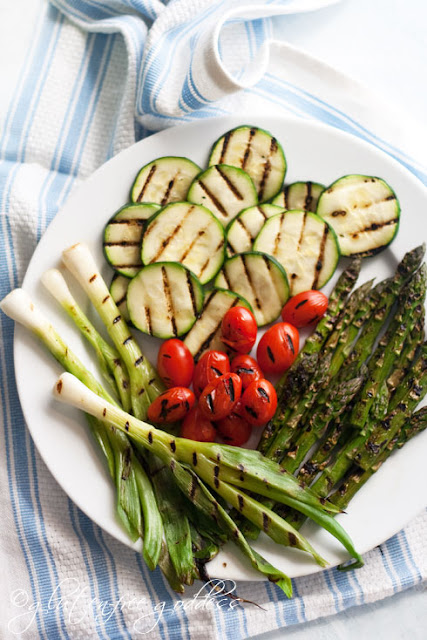 Easy and beautiful grilled vegetables for gluten-free pasta salad.