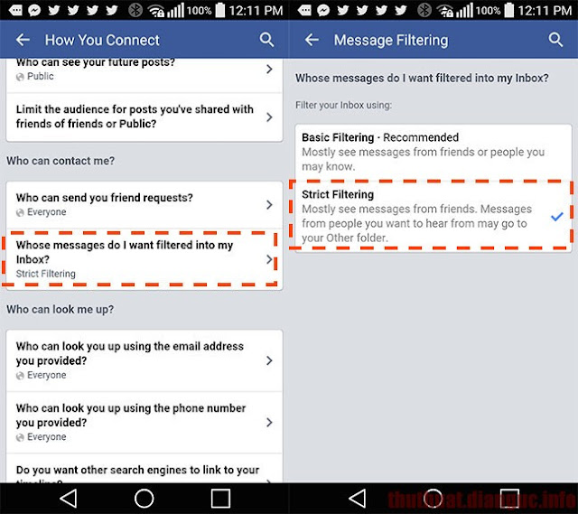 chan tin nhắn rác facebook tren android