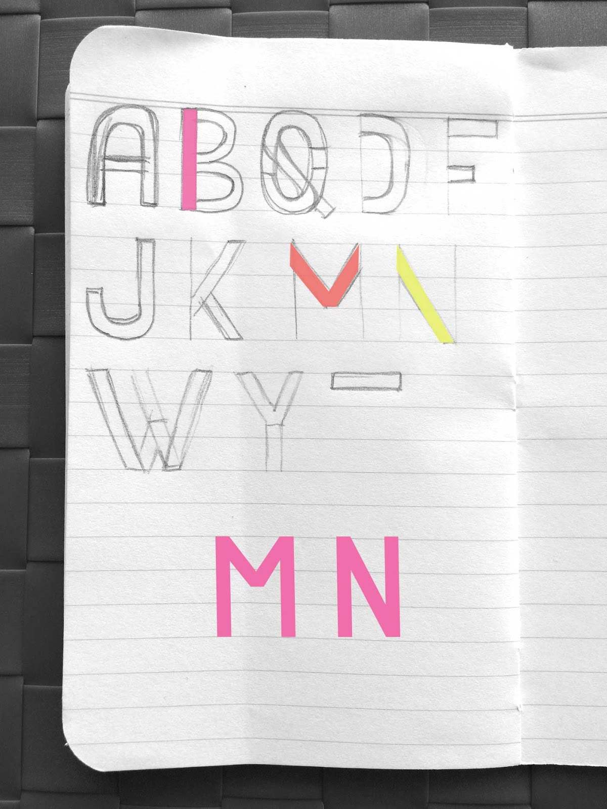 Drawing letters M and N - Create a font with minimal sketching
