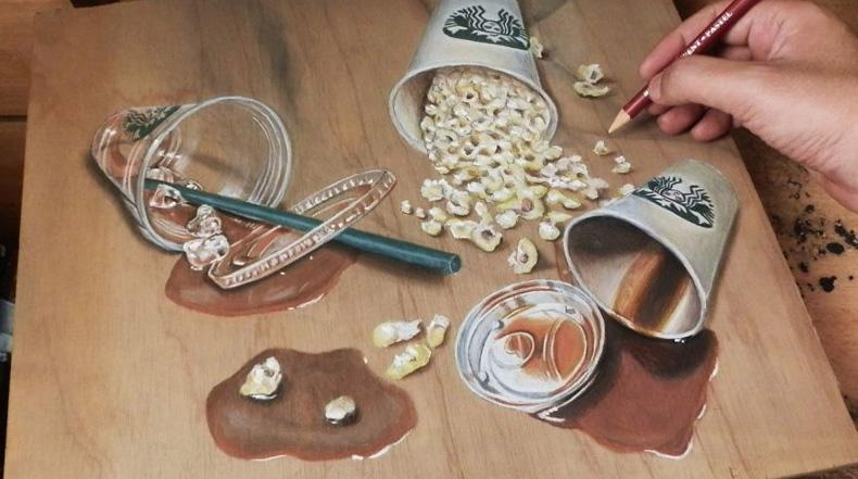 Artista hace imágenes fotorrealistas en los tablones de madera