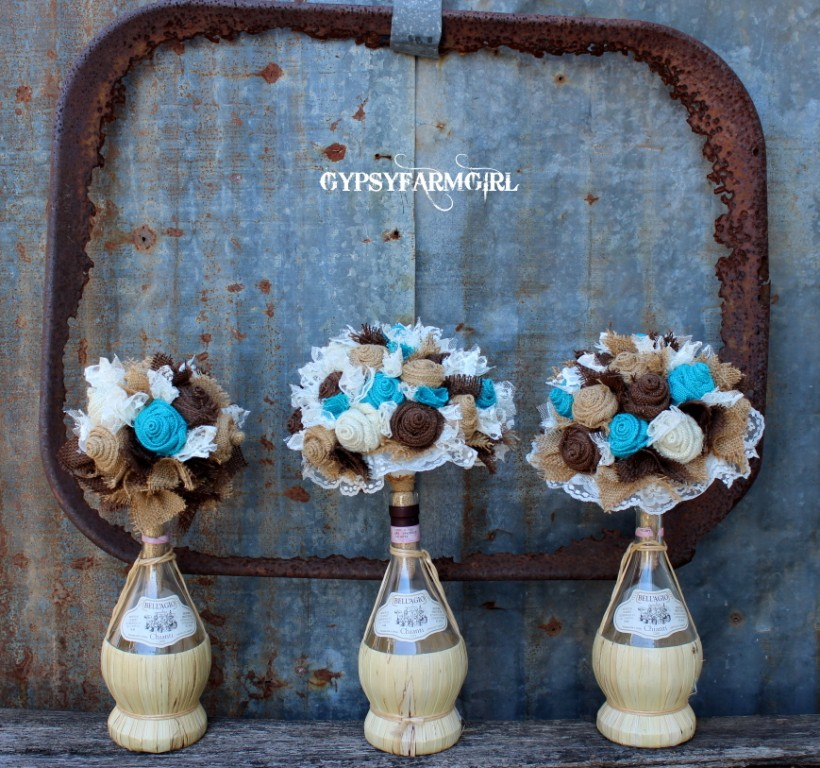 A Shabby Chic Bridesmaid Bouquets In The White Washed Dresser Drawer