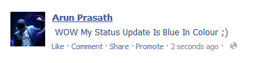 Facebook Trick: Update Your Status In Blue Colour