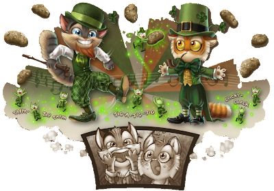 "[Rocky and Calvin appear in traditional Irish clothes. Rocky dances a jig while Calvin plays the role of a leprechaun. Several green little ""wee folk"" dance at their feet, and potatoes float around them … But it's just their delighted imaginings.]"
