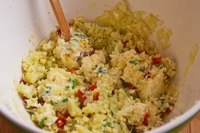 mixing ingredients for Twice-Baked Cauliflower found on KalynsKitchen.com