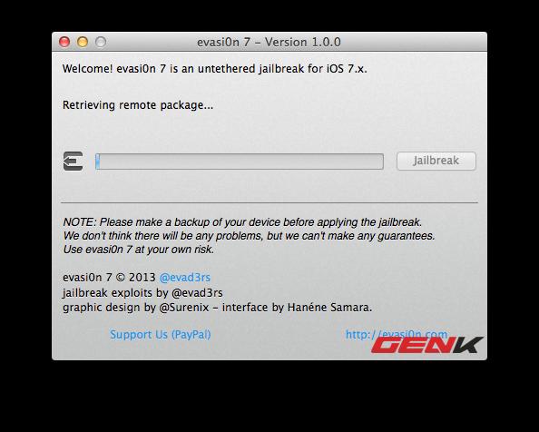 Hướng dẫn jailbreak iOS 7 bằng Evasi0n cho tất cả iPhone