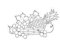 cesta com abacaxi e frutas