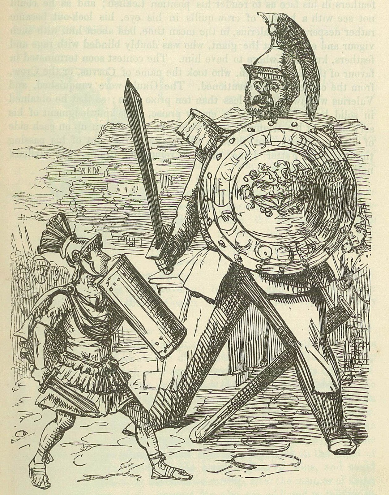 An enormous, armoured Celtic Gaul faces a small Roman soldier