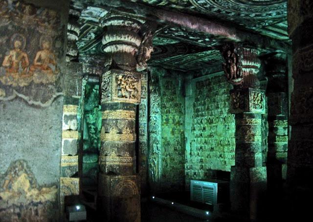 decorated temple cave at Ajanta in Aurangabad