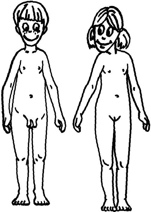 Dibujo de cuerpo humano de niño y niña