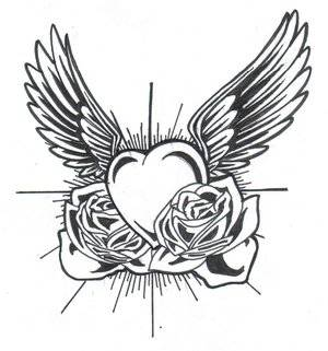 Rose and Heart Drawing Printable