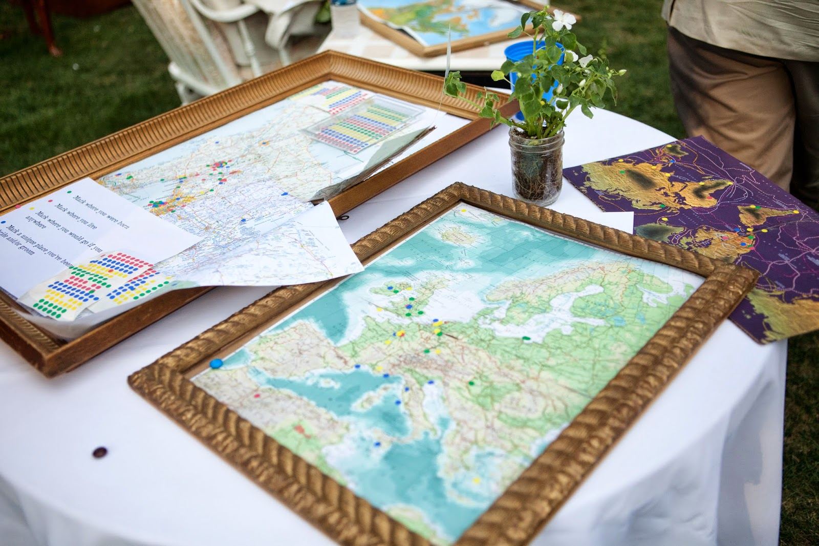 maps on table at wedding