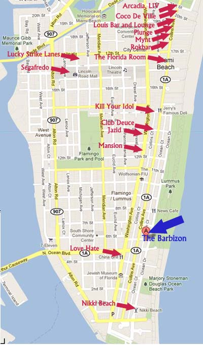 Events and Fun in South Beach Miami Nightclub Map