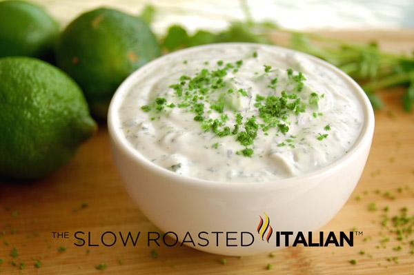 Light blue cheese dip for Greek yogurt fish taco sauce