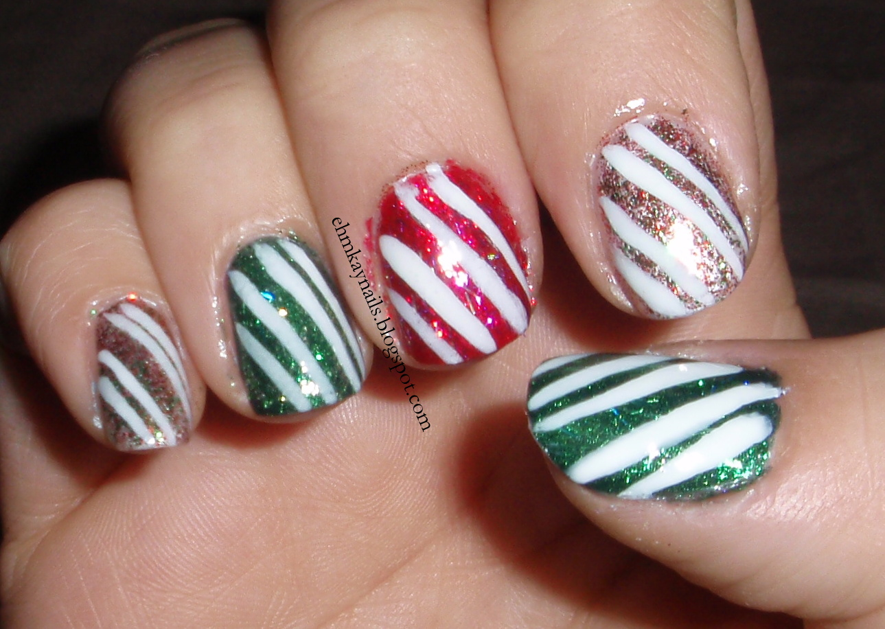 Ehmkay nails blast from the past christmas character nail art christmas candy cane nail art prinsesfo Choice Image