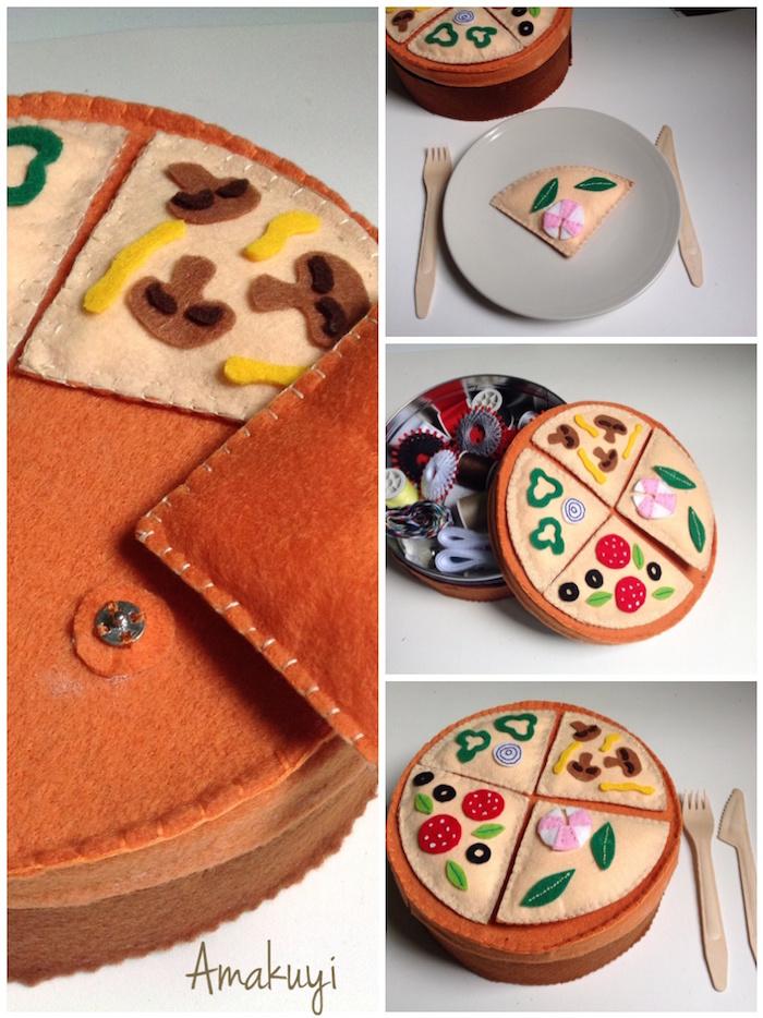 costurero de fieltro con forma de pizza
