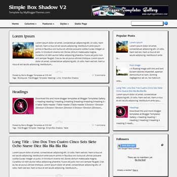 Simple Box Shadow V2 blogger template. 3 column footer blogspot template