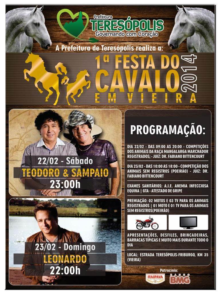 1ª Festa do Cavalo em Teresópolis reúne criadores e traz shows de Leonardo e Teodoro & Sampaio