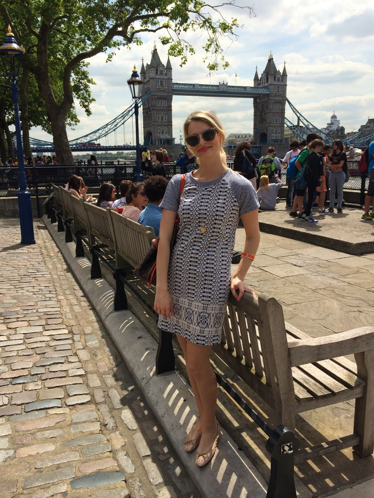 Monica vinader, hobb's dress, tower bridge, blue dress, fashion blogger, london fashion blogger