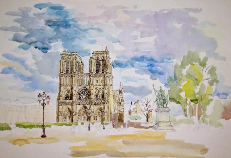 cuadro a la acuarela de la catedral de Notre dame en París