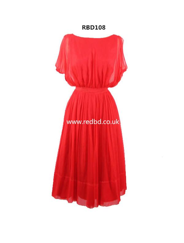 Red Scoop Neckline Tea Length Bridesmaid Dress