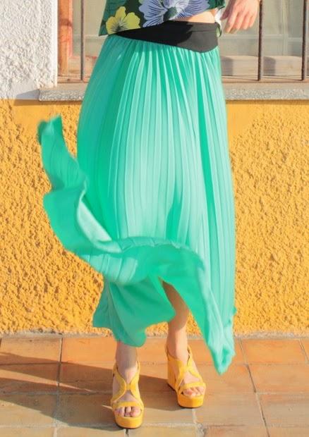 falda verde vuelo